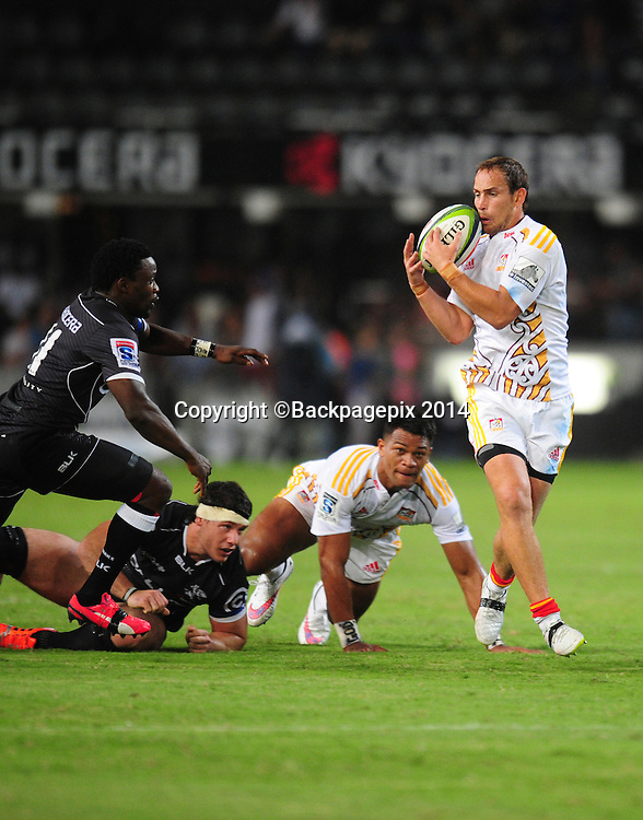 Andrew Horrell of the Chiefs during the 2015 Super Rugby match between Sharks and Chiefs at the Kings Park Stadium in Durban on the 21st  of March 2015<br /> <br /> &copy;Sabelo Mngoma/BackpagePix