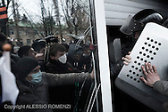 Ukraine, Donetsk: Pro-Russia demonstrators storm the Security Service building during a rally in Donetsk on March 16, 2014. Pro-Russia demonstrators in the eastern city of Donetsk called Sunday for a referendum similar to the one in Crimea as some of them stormed the prosecutor-general's office. ALESSIO ROMENZI