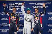 April 17, 2014 - Shanghai, China. UBS Chinese Formula One Grand Prix. Lewis Hamilton (GBR), Mercedes Petronas, Daniel Ricciardo (AUS), Red Bull-Renault, Sebastian Vettel (GER), Red Bull-Renault