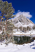 Fresh powder on Mount Morgan from lower Gem Lake, John Muir Wilderness, Sierra Nevada Mountains, California