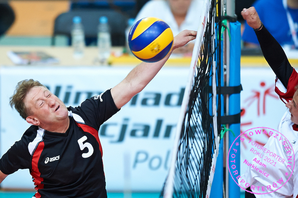 Volleyball match between SO Poland and SO Germany during of The Special Olympics Unified Volleyball Tournament at Ursynow Arena in Warsaw on August 27, 2014.<br /> <br /> Poland, Warsaw, August 27, 2014<br /> <br /> For editorial use only. Any commercial or promotional use requires permission.<br /> <br /> Mandatory credit:<br /> Photo by &copy; Adam Nurkiewicz / Mediasport
