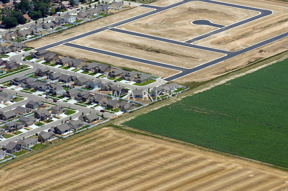 Urban sprawl into farmland. Weld County, Colorado. Aug 2010