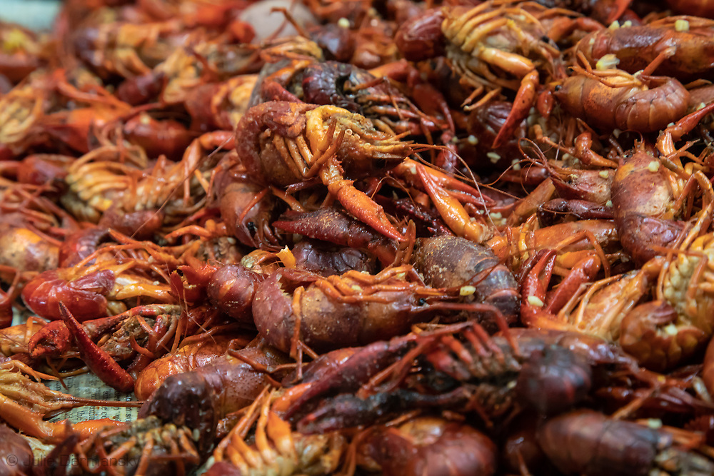 Crawfish served at the L'eau Est La Vie Camp during a party.