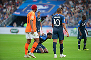 Paul Pogba (FRA) on the floor, Frenkie de Jong (NDL), Kylian Mbappe (FRA), N Golo Kante (FRA) during the UEFA Nations League, League A, Group 1 football match between France and Netherlands on September 9, 2018 at Stade de France stadium in Saint-Denis near Paris, France - Photo Stephane Allaman / ProSportsImages / DPPI