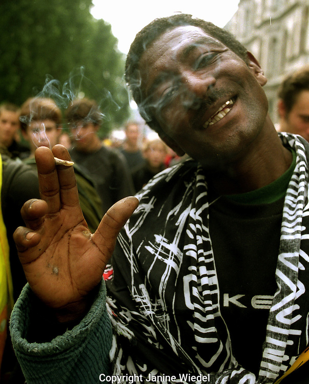 Smoking a joint at the Legalise Cannabis march in London