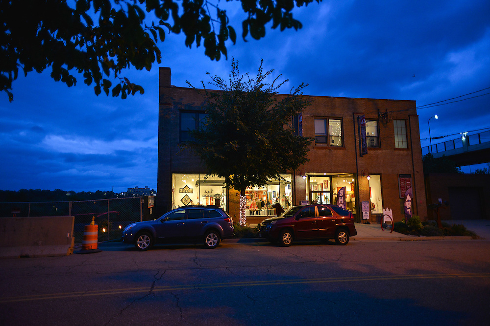 Exterior of Zeber-Martell Clay Studio and Art Gallery in the evening.
