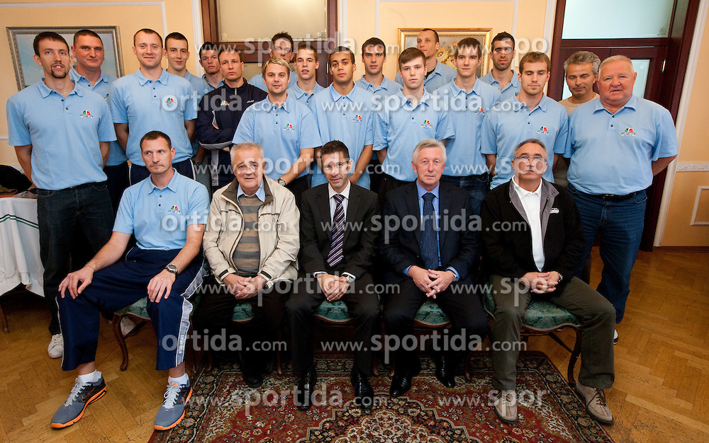 Group photo during press conference of basketball team KK Helios Domzale before new season 2010-2011, on September 27, 2010 in Domzale, Slovenia. (Photo By Vid Ponikvar / Sportida.com)