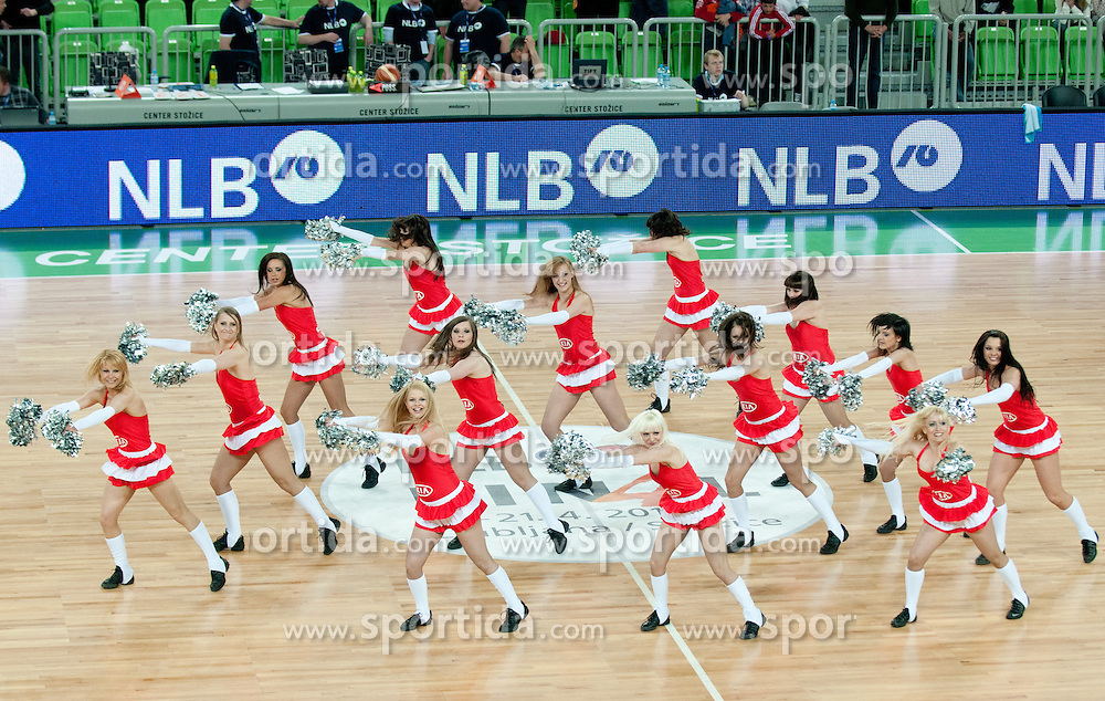 Cheerleaders Ice Ladies during second semi-final match of Basketball NLB League at Final four tournament between KK Union Olimpija and Krka (SLO), on April 19, 2011 at SRC Stozice, Ljubljana, Slovenia. (Photo By Matic Klansek Velej / Sportida.com)