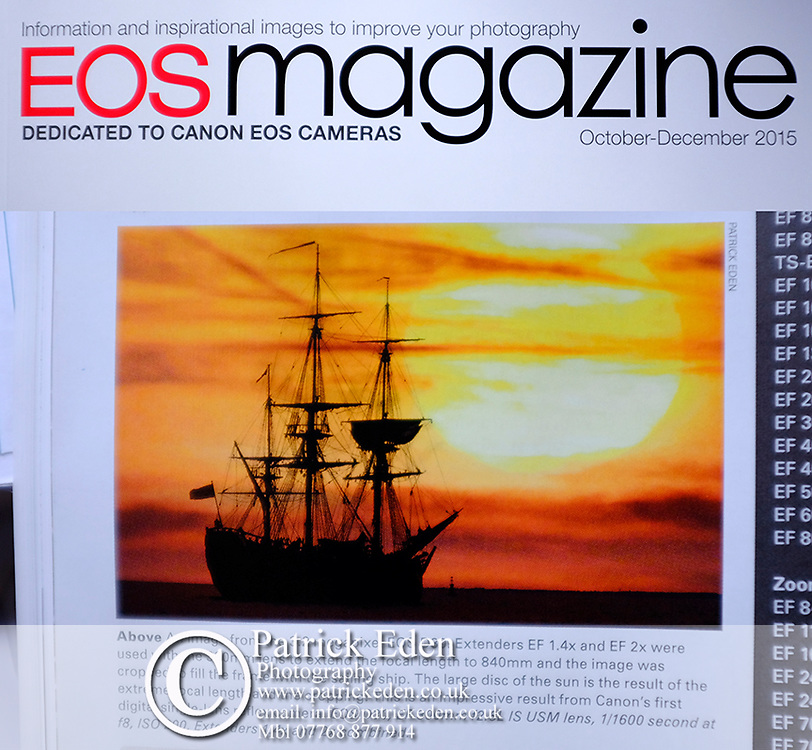 Canon, Eos Magazine, James Cook, ship, Endeavour, Cowes, Isle of Wight, Sunset,