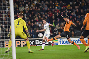 Captain Cesar Azpilicueta (28) of Chelsea FC shoots at goal during the The FA Cup match between Hull City and Chelsea at the KCOM Stadium, Kingston upon Hull, England on 25 January 2020.