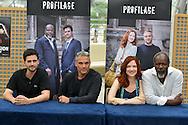 """Cast """"Profilage"""" Television Serie Autograph session at the Monte-Carlo Film Festival of Television. Ferret Raphael, Bas Philippe, Vuillemin Odile, Martial Jean-Michel.<br /> Monte-Carlo, 13 june 2015, Monaco"""