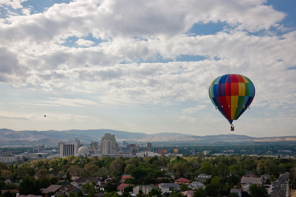 """Balloon Over Downtown Reno"" - This hot air balloon was photographed from a balloon during the 2011 Great Reno Balloon Race."