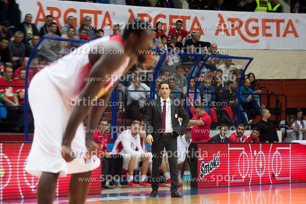 Giannis Sfairopoulos, head coach of Olympiacos during Euroleague basketball match in 6th Round of Group B between KK Cedevita Zagreb and Olympiacos Piraeus, on November 19, 2015, in Drazen Petrovic basketball hall, Zagreb, Croatia.
