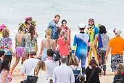 "The Duke and Duchess of Sussex visit Bondi Beach,Sydney. Prince Harry and Meghan Markle spent time with One Wave, an inititiative that engages with mental health in a fun and engaging way. The couple were both here to take part in the "" Fluro Friday"" session."