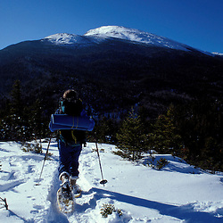 Snowshoeing on Lowe's Bald Spot in NH's White Mountains.  Mt. Washington, NH