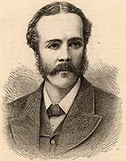 Arthur James Balfour, 1st Baron Balfour (1848-1930) Scottish-born British Conservative statesman. Prime Minister 1902-1905 Balfour Declaration (1917).  Balfour in 1887 when he was appointed Chief Secretary for Ireland.  Engraving from 'The Illustrated London News' (London, 12 March 1887).