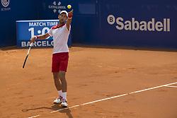 April 25, 2018 - Barcelona, Barcelona, Spain - NOVAK DJOKOVIC serves against MARTIN KLIZAN during the Barcelona Open Banc Sabadell 2018. MARTIN KLIZAN won the match 6-3 6-7(5) 6-4. (Credit Image: © Patricia Rodrigues/via ZUMA Wire via ZUMA Wire)