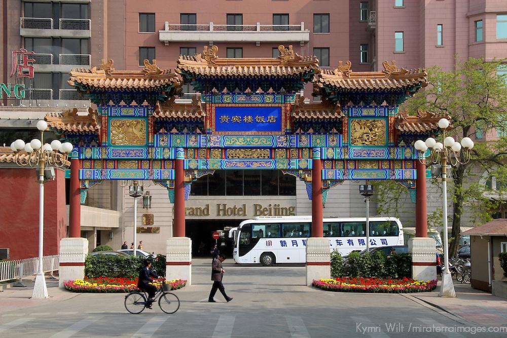 Asia, China, Beijing. Gate and Grand Hotel Beijing.
