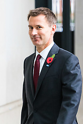 London, October 29 2017. Health Secretary Jeremy Hunt arrives at the BBC in London to appear on the Andrew Marr Show. © Paul Davey