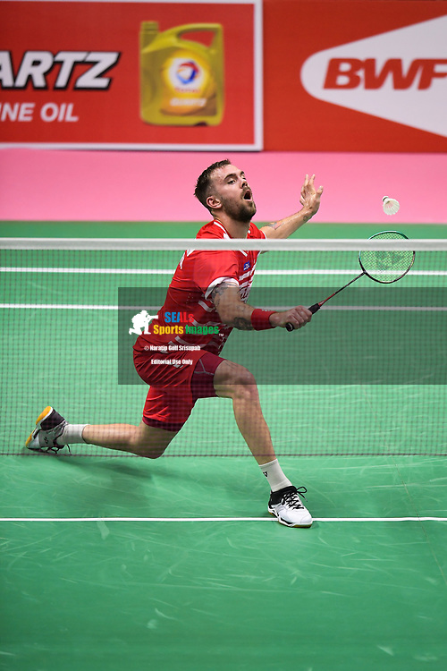 BANGKOK, THAILAND - MAY 25: Jan O Jorgensen of Denmark in action on Court 1 during his Semi-Finals match against Kanta Tsuneyama of Japan at the BWF Total Thomas and Uber Cup Finals 2018, Impact Arena , Bangkok, Thailand on May 25, 2018.<br /> .<br /> .<br /> .<br /> Photo by: Naratip Golf Srisupab/SEALs Sports Images<br /> <br /> .<br /> All photo must include a credit line adjacent to the content: Naratip Golf Srisupab/SEALs Sports Images