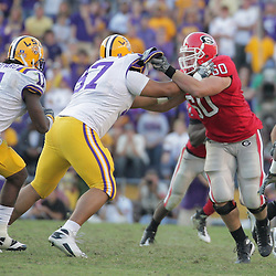 25 October 2008:  Georgia guard Clint Boling (60) blocks LSU defensive tackle Al Woods (97) during the Georgia Bulldogs 52-38 victory over the LSU Tigers at Tiger Stadium in Baton Rouge, LA.