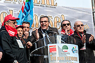 The intervention of Emilio Miceli, general secretary FILCTEM-CGILduring  the demonstration to protest against the sell of Versalis, its synthetic rubber and chemicals company, in Rome, Italy. 19th Febraury 2016. The Italian energy and petrochemicals firm Eni is talking with investment fund SK Capital over the sale of a majority stake in its chemical unit. SK Capital is a private investment firm with a disciplined focus on the specialty materials, chemicals and healthcare sectors, headquartered in New York City.