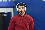 Norwich City striker Nelson Oliveira (9) inspects the pitch with Beats headphones on during the EFL Sky Bet Championship match between Cardiff City and Norwich City at the Cardiff City Stadium, Cardiff, Wales on 1 December 2017. Photo by Alan Franklin.
