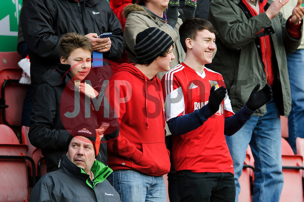 Bristol City fans celebrate after Midfielder Simon Gillett (ENG) scores to give his side a 2-1 lead - Photo mandatory by-line: Rogan Thomson/JMP - 07966 386802 - 01/03/2014 - SPORT - FOOTBALL - Ashton Gate, Bristol - Bristol City v Gillingham - Sky Bet League One.