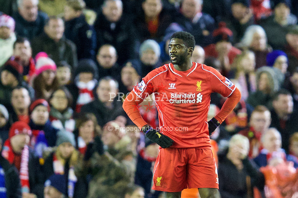 LIVERPOOL, ENGLAND - Thursday, New Year's Day, January 1, 2015: Liverpool's Kolo Toure looks dejected as his side throw away a two goal lead against Leicester City during the Premier League match at Anfield. (Pic by David Rawcliffe/Propaganda)