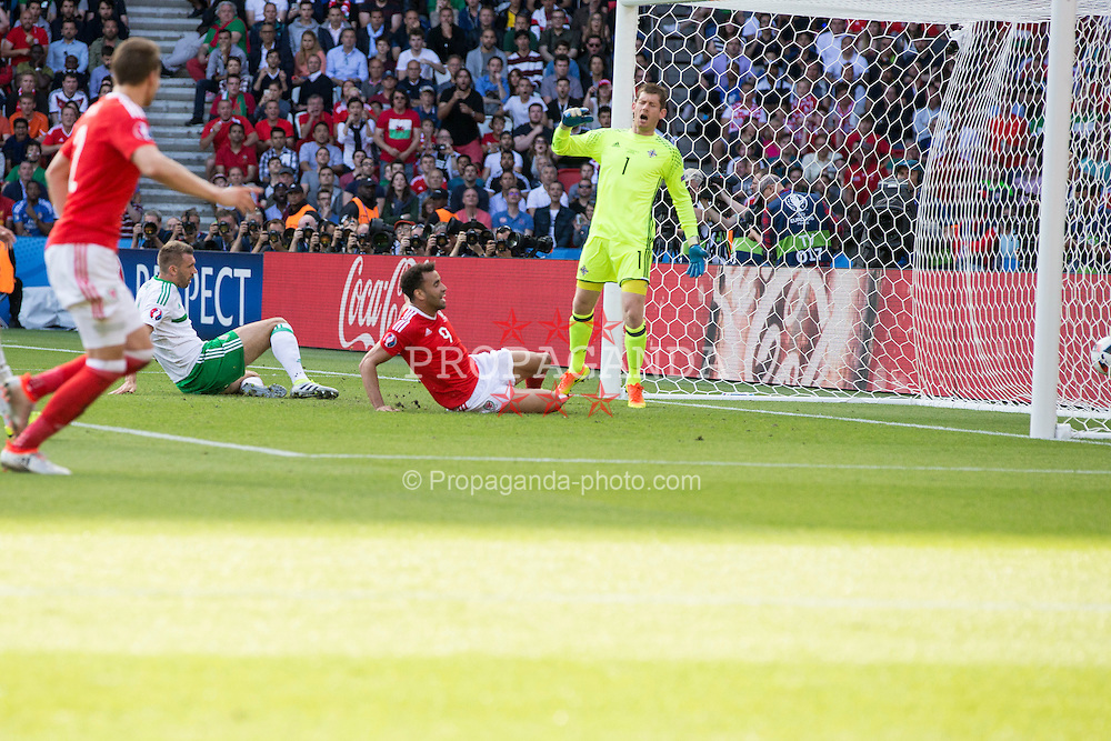 PARIS, FRANCE - Saturday, June 25, 2016: Northern Ireland's goalkeeper Michael McGovern reacts after Gareth McAuley scores an own goal during the Round of 16 UEFA Euro 2016 Championship match against Wales at the Parc des Princes. (Pic by Paul Greenwood/Propaganda)