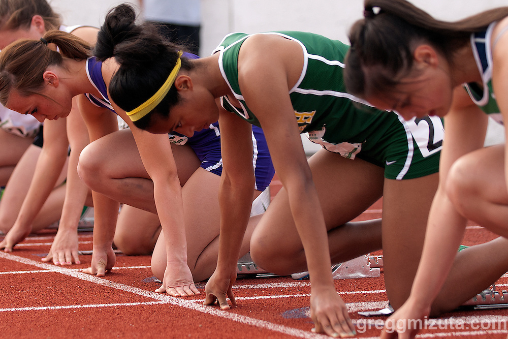 Borah freshman Shanae Boully on the line during the start of heat 1, 100 meter hurdles during the 5A District 3 meet on May 12, 2011 at Mountain View High School.