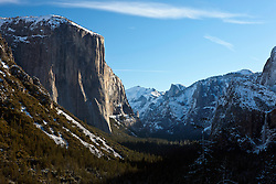 Valley View with snow in the winter, Yosemite National Park, California, United States of America