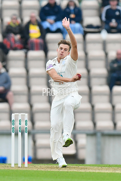Brad Wheal of Hampshire bowling during the Specsavers County Champ Div 1 match between Hampshire County Cricket Club and Worcestershire County Cricket Club at the Ageas Bowl, Southampton, United Kingdom on 13 April 2018. Picture by Graham Hunt.