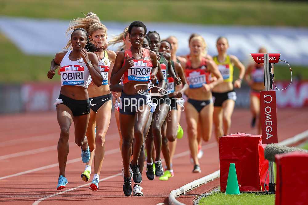 Agnes Jebet TIROP of Kenya leads and goes on to win the Women's 3000m during the Muller Grand Prix 2018 at Alexander Stadium, Birmingham, United Kingdom on 18 August 2018. Picture by Toyin Oshodi.
