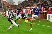 Ben Davies (2) of Grimsby Town blocks a cross by Dean Moxey (21) of Exeter City during the EFL Sky Bet League 2 match between Exeter City and Grimsby Town FC at St James' Park, Exeter, England on 11 November 2017. Photo by Graham Hunt.