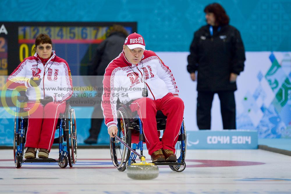 Svetlana Pakhomova, Alexander Shevchenko, Wheelchair Curling Semi Finals at the 2014 Sochi Winter Paralympic Games, Russia