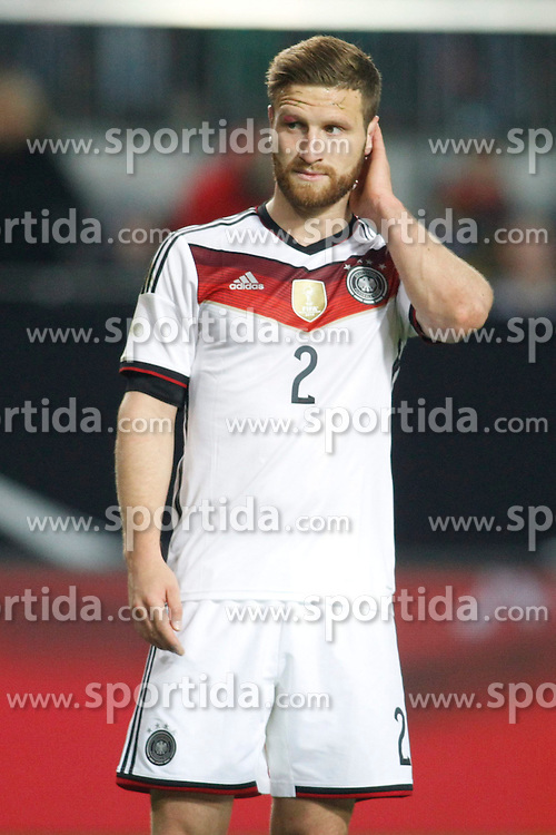 25.03.2015, Fritz Walter Stadion, Kaiserslautern, GER, FS Vorbereitung, Deutschland vs Australien, DFB L&auml;nderspiel, im Bild Shkodran Mustafi (FC Valencia) nachdenklich // during the international friendly football macht between Germany and Australia at the Fritz Walter Stadion in Kaiserslautern, Germany on 2015/03/25. EXPA Pictures &copy; 2015, PhotoCredit: EXPA/ Eibner-Pressefoto/ Schueler<br /> <br /> *****ATTENTION - OUT of GER*****
