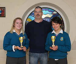 Sancta Maria College Awards 2018<br /> Art award presented by Tom O'Farrell to Sarah Caulfield and Neva Herrschaf.<br /> Pic Conor McKeown