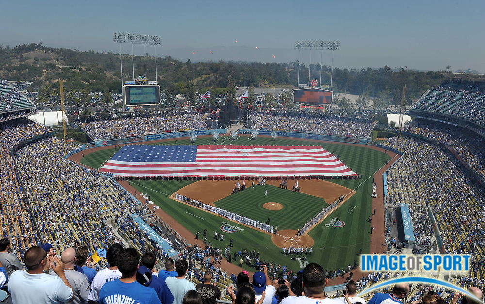 Apr 10, 2012; Los Angeles, CA, USA; General view of Dodger Stadium during the playing of the national anthem before the 2012 opening day game between the Pittsburgh Pirates and the Los Angeles Dodgers.