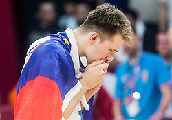 Luka Doncic of Slovenia kissing a medal at Trophy ceremony after winning during the Final basketball match between National Teams  Slovenia and Serbia at Day 18 of the FIBA EuroBasket 2017 when Slovenia became European Champions 2017, at Sinan Erdem Dome in Istanbul, Turkey on September 17, 2017. Photo by Vid Ponikvar / Sportida