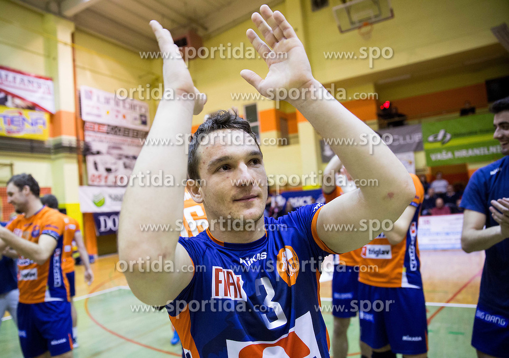 Miha Plot of ACH celebrates after winning during volleyball match between ACH Volley   and Salonit Anhovo in Final of Slovenian Cup 2014/15, on January 17, 2015 in Sempeter, Slovenia. Photo by Vid Ponikvar / Sportida