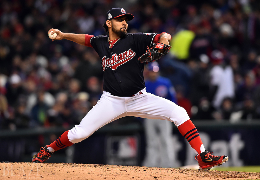 Oct 26, 2016; Cleveland, OH, USA; Cleveland Indians relief pitcher Danny Salazar throws a pitch against the Chicago Cubs in the 6th inning in game two of the 2016 World Series at Progressive Field. Mandatory Credit: Ken Blaze-USA TODAY Sports