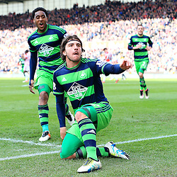 Alberto Paloschi of Swansea City celebrates after scoring the equalising goal to make it 2-2 - Mandatory by-line: Matt McNulty/JMP - 02/04/2016 - FOOTBALL - Britannia Stadium - Stoke-on-Trent, England - Stoke City v Swansea City - Barclays Premier League