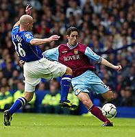 Photo Aidan Ellis.<br />Everton v Aston Villa (FA Barclaycard Premiership) 26/04/2003.<br />Everton's Lee Carsley and Villa's Peter Whittingham
