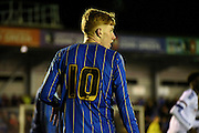 Alfie Egan watches the action unfold during the FA Youth Cup match between U18 AFC Wimbledon and U18 Chelsea at the Cherry Red Records Stadium, Kingston, England on 9 February 2016. Photo by Michael Hulf.