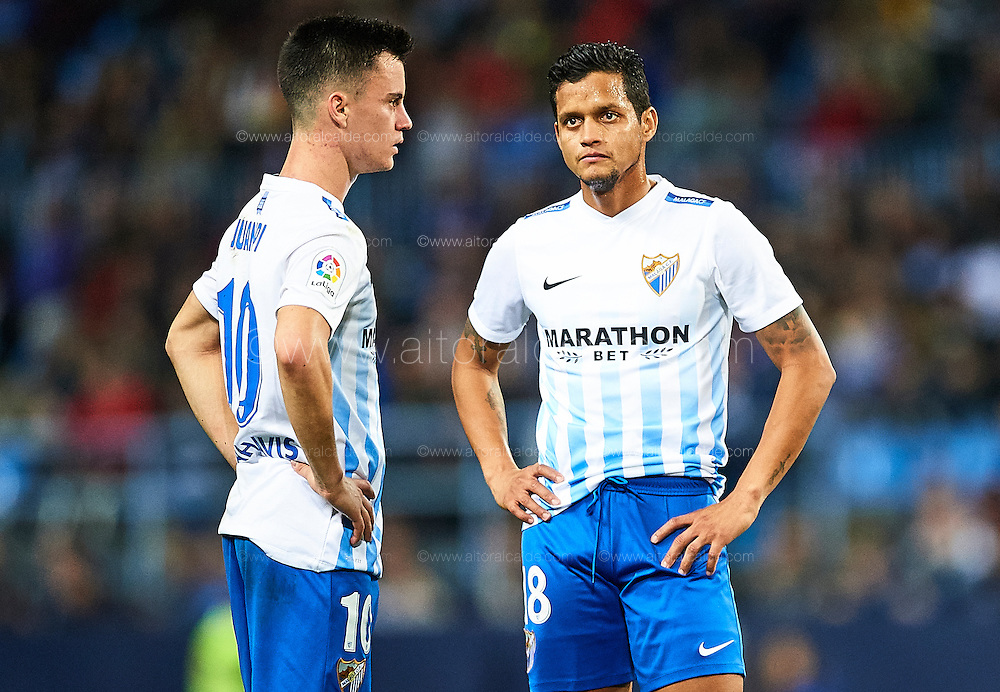 MALAGA, SPAIN - DECEMBER 09:  Roberto Rosales of Malaga CF looks on during La Liga match between Malaga CF and Granada CF at La Rosaleda Stadium December 9, 2016 in Malaga, Spain.  (Photo by Aitor Alcalde Colomer/Getty Images)