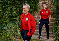 ALHAURÍN EL GRANDE, SPAIN - TUESDAY, MARCH 5, 2019: Wales' Grace Horrell (L) and Tamsyn Sibanda during a pre-match team walk at the at Alhaurin Golf Resort in Spain. (Pic by David Rawcliffe/Propaganda)