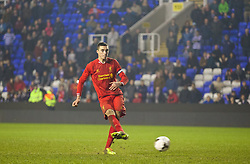 READING, ENGLAND - Wednesday, March 12, 2014: Liverpool's Lloyd Jones scores the first penalty of the shoot-out against Reading during the FA Youth Cup Quarter-Final match at the Madejski Stadium. (Pic by David Rawcliffe/Propaganda)