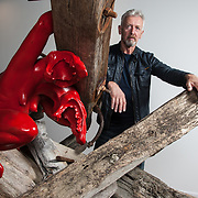 David Mach, artist. Photographed with his Brexit-themed sculpture, 'Against The Tide'.<br /> Copyright photograph by Tina Norris.
