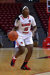 01 January 2017: Brechelle Beachum during an NCAA Missouri Valley Conference Women's Basketball game between Illinois State University Redbirds the Braves of Bradley at Redbird Arena in Normal Illinois.